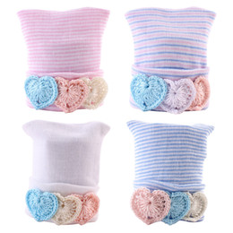 Wholesale Hearts Decor - 0-6M Newborn Baby Hats Infant Kids Soft Stripe Cotton Caps Beanie Heart Shape Decor Unisex Baby Hair Accessories Winter Ear Warmer BH23