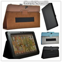 Wholesale Asus Nexus Screen Protector - Wholesale-Nexus 10 Leather Case Cover Stand For Google Nexus 10 inch Tablet Case with hand holder +screen protectors