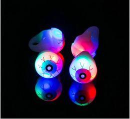 Wholesale funny christmas flash - Halloween LED Flashing finger ring glowing Eye skull Rings Novelty Party Decoration toy Christmas Gift Led funny Rave Toy