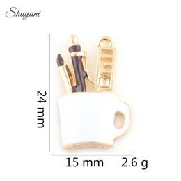 Wholesale Enamelled Pots - Enamel Metal Charms Pendant Colorful Brush Pot Floating Charm for DIY Necklace Bracelet Silver Gold Plated