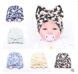 Wholesale Wholesale Hair Styling Capes - Newborn Hats Infant Baby Girls Printing Flower Beanies Hat Birthday Gifts Hats Hair Accessory Boutique Winter Warm Beanie Capes 55 STYLES