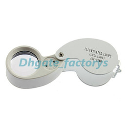 Wholesale Magnify Eye Glasses - 200pcs 40x 25mm Glass Magnifying Jeweler Magnifier Eye Jewelry Loupe Loop Lights Led Light Jewelry Magnifier