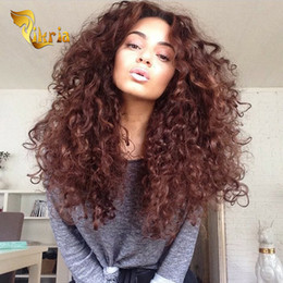Acheter en ligne Les brown-Silk Base Full Lace Wigs Brésilien Indien Malaysian Peruvian Human Hair Lace Front Perruques Brown Deep Wave Glueless Full Lace Wigs