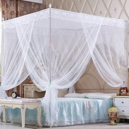 Wholesale Mosquito Net Steel - 2*2.2M Mosquito Net Bed Net Mosquito Curtain Square Shape Bed Nettings 3 Openings Landing Bedding Nets Stainless Steel Poles Nettings
