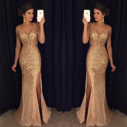 Wholesale Trumpet Crystal Prom Dress - 2017 Gold Shinny Prom Dresses Sexy V Neck Cap Sleeves Beaded Sequins Side Slit Prom Dresses Formal Party Dresses