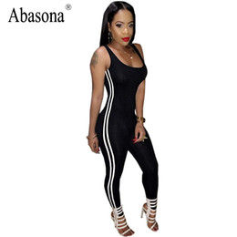Wholesale Womens Overall Long Pants - Wholesale- Summer Sleeveless Backless Sexy Bodycon Wear Black White Stripe Long Pants Rompers Womens Jumpsuit Bodysuit Overalls Sportsuit