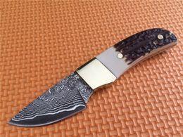 Oem faca fixa on-line-Pequeno mini lâmina fixa faca OEM Browning Elk Ridge Damasco aço Bolso camping faca de caça ferramenta ao ar livre mão transporte da gota