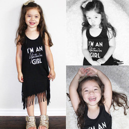 Wholesale Toddler Princess Dresses Casual - I'm a uptown girl letter printed tshirt girls Toddler Kids Baby Girl Princess Clothes Sleeveless Tassel Tops T-Shirts casual wedding Dress