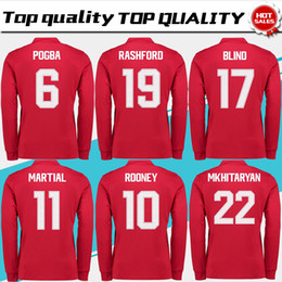 Wholesale Football Jersey Fonts - New #6 POGBA home red long sleeve Soccer Jersey 17 18 cup font #19 RASHFORD away black Soccer Shirt Customized football uniform Sales