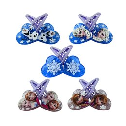 Wholesale Valentines Hair Accessories - Wholesale- 1 pair 5cm Elsa Anna Heart-shaped clip Headwear Female Girls babys Hair Accessory Wafer Side-knotted Clip Hairpin Valentine Day