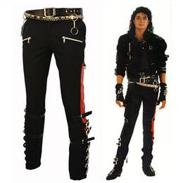 Wholesale Plus Size Professional - Wholesale-Michael Jackson MJ PROFESSIONAL ENTERTAINERS BAD TROUSERS PANTS PUNK BLACK BUCKLE MATEL US STYLE