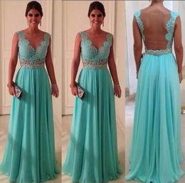 Wholesale Aqua Chiffon Evening Gowns - Aqua Bridesmaid Dresses Sheer Back Cap Sleeve Lace Chiffon Puffy Beading Sash Floor Length Cheap Long Prom Evening Gowns
