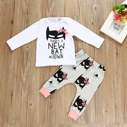 Wholesale T Shirts Set Men Wholesale - 2107 Ins New Arrival Autumn Winter Baby Clothing Sets Bow Baby Long Sleeve Bat Man T-shirts +Long Pants Newborn Baby Christmas Outfit
