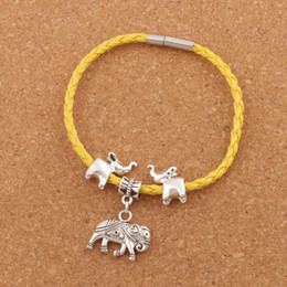 "Wholesale clipped weave - Elephant Leather Wrap Woven European Charm Bracelet 20pcs lot Silver Plated Clip Clasp Wristband Christmas Bangle 8"" BB55"