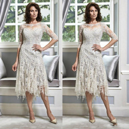 Wholesale Tea Length Crew Neck Dress - 2017 Silver Lace Plus Size Mother of The Bride Groom Dresses for Weddings Half Sleeve Beaded Crew Neck Tea Length A Line Evening Gowns