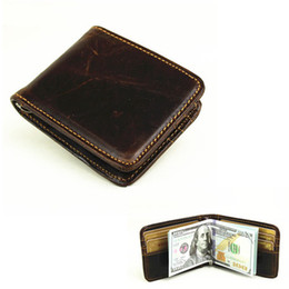 Wholesale Animal Clamp - ZYD-COOL Men's Money Clip Vintage Genuine Cowhide Leather Portfolio Men wallets Open Clamp For Money Card Pocket 6 Card Slots
