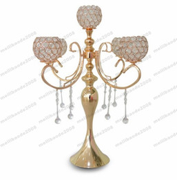 Wholesale Crystal Wedding Candelabra Wholesale - NEW elegant new tall 5 arms wedding rose gold crystal candelabra for wedding decoration centerpieces free shipping MYY