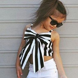 Wholesale Princess Tee Shirts - Girls Children Summer Tops Tees Vest Baby Princess Bow Striped Suspender Shirts Tanks Tops Tees Kids Babies Backless Sleeveless Slip Clothes