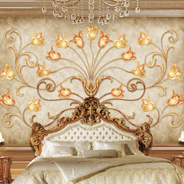 Wholesale European Classic Sofa - Custom Wall Mural European Style 3D Golden Flowers mural TV Background Wall Painting Living Room Sofa Wallpaper Wall Covering
