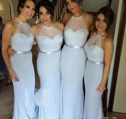 Wholesale Sheer Halter Bridesmaid Dress - Plus size 2017 Trendy Silver Blue Chiffon bridesmaid Dresses cheap Sheer Halter Neck long formal Party Evening dresses wear Pageant gowns