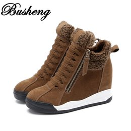 Wholesale Winter Hidden Wedges Shoes - 2016 New Genuine Leather Women's Casual Shoes Height Increasing Ankle Boots Wedge Boots Heels Hidden Shoes Woman Busheng020
