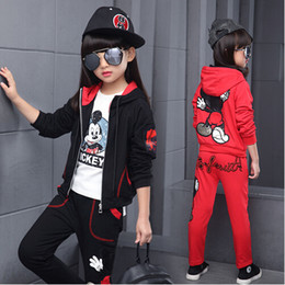 Wholesale Mikey Clothes - Children girls clothing set autumn teenage girls sport suit Mikey 2 pcs school kids clothes tracksuit 4~13 years girls clothes