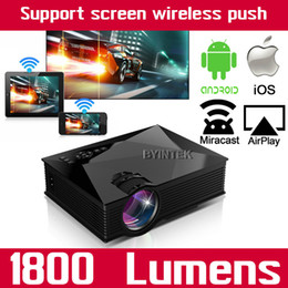 Wholesale Iphone Projectors - Wholesale-WIFI Home Theater Mobile HDMI USB LCD Pico uC46 Video Portable 1800lumens Mini Game LED Projector Proyector For Iphone Android