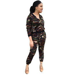Wholesale Two Pieces Fashion Coat - Autumn Camouflage Long Sleeve Hoodie Two Piece Set Fashion Collarless Coats 2 Piece Suits Long Pants &Tops Casual Women Hoodies Sweatershirt