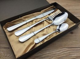 Wholesale Stainless Steel Cutlery Pieces - Gift Dinnerware Stainless Steel Cutlery Set 4 Pieces Gold Knife Fork Set Tableware