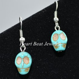 Wholesale Skull Earrings Turquoise - 2017 Cool Style Turquoise Earrings Wholesale Skull Style Handmade Charm Earring For Hallowmas Party Any Color Avaiable For Custom Order
