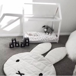 Wholesale European Floor Rugs - New Arrival Large Size Lovely Rabbit Play Mat Soft Blanket Baby Play Rug Floor Creeping Mat Children Room Decor 106*68CM