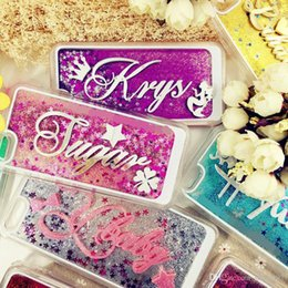 Wholesale iphone 5s sparkle cases - For iphone 5 5s se 6 6s 7 8 plus X Korea Awesome Exclusive Personalize Customize Name Star liquid Glitter sparkle case