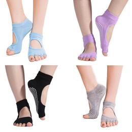 Wholesale Black Pilates - Brand New Toeless Yoga Pilates Socks Non Slip Skid with Grips for Pilates Barre Dance for Women