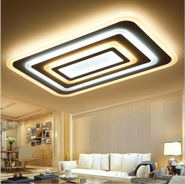 Wholesale Modern Square Ceiling Lights - modern Rectangle Dimming Ceiling Lights Acrylic For Living Study Room Bedroom lamparas de techo 85-265V Square Led Ceiling light fixtures
