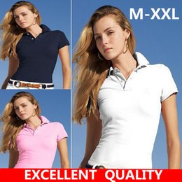Wholesale Fitted Polo Woman - Women's Polo Shirt Style Summer Fashion Women Small Horse Embroidery Lapel Polo Shirts Cotton Slim Fit Polos Top Casual Brands shirts M-4XL
