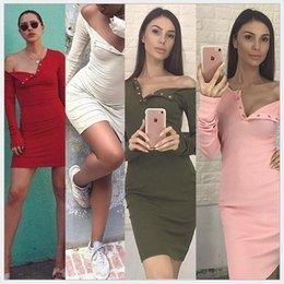 Wholesale Long Off Shoulder Bags - Long sleeve button bag hip off-the-shoulder v-neck cotton dress