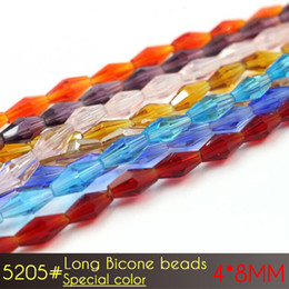 Wholesale Purple Faceted Beads - Long Bicone Faceted Special color Series Austrian crystal beads 72pcs 4*8mm Top quality glass crystal Loose bead handmade Jewelry bracelet m