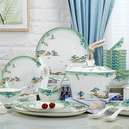 Wholesale White Kitchen Dinnerware Set - kitchen tableware dinnerware sets dishes sets plates Ceramic dishes and plates china dinnerware household items Bone china Sets