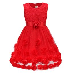 Wholesale Peplum For Kids - Summer Wedding Dress For Kids Red Rose Floral Dresses Free Shipping 2017 New Arrival Belt Skirts