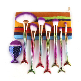 Wholesale Multi Shape - Mermaid Tail Shape Blending Brush 8pcs set Foundation Cosmetic Brush Spiral Make Up Flat Mermaid Rainbow Brushes Set With Bag 2805112