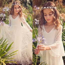 Wholesale Girls New Years Dress - 2017 New Boho Lace Flower Girl Dresses Cheap Country Style Little Girls Long Sleeve Ivory Sweet First Communion Gowns For 2-12 Years MC0668