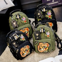 Wholesale Korean Hottest Women - hot sale chinese Embroidery tiger canvas designer backpack man woman fashion korean brand backpack shoulder bags free ship