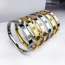 Wholesale 18k Gold Chain Styles - New style silver rose 18k gold 316L stainless steel screw bangle bracelet with screwdriver and original box screws never lose