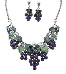Wholesale Earring Grape Silver - High Quality Earrings Necklace Sets Women Cute Fruit Necklaces Girls Holiday Grape Necklaces Women Epoxy Short Necklace Stud 5PCS