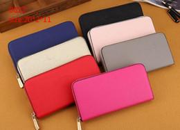 Wholesale Lady Wallets - designer wallet lady women M series solid pink black fashion leather long zipper medium purses
