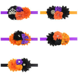 Wholesale halloween boutique bows - Baby Headbands Halloween Bow Flower Headbands Boutique Girls Tiara Rhinestone Satin Hair Accessories Kids Shabby Chiffon Hairbands KHA555