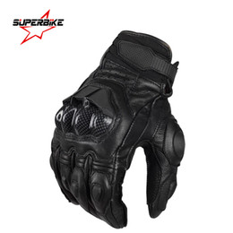 Wholesale Brown Leather Motorcycle Gloves - Wholesale- Motorcycle Gloves Men Protective Gear Genuine Leather Glove CE Perforation Bike Cycling Moto Motocross Motocicleta Guantes Luvas