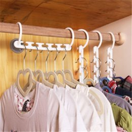 Wholesale Plastic Storage Closets - Multifunction Wonder Magic Hanger Rack with Hook Home Clothes Hanger Closet Organizer Space Saver Clothing Storage Racks