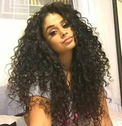 Wholesale Black Medium Length Wig - Medium Length Afro Kinky Curly Synthetic Lace Front Wig 180 Density Heat Resistant Fiber Hair Curly Wigs For Black Women