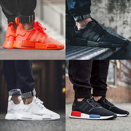 Wholesale Sneaker Sports Shoes - 2017 NMD Runner R1 Again Triple black White red pk 3M Primeknit Men Women nmds boost Running Shoes sports Shoes Sneakers eur 36-45